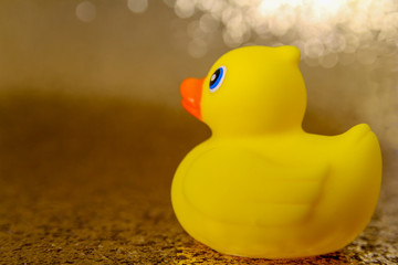 Rubber Duck Toy for Bath in a Sparkling Environment