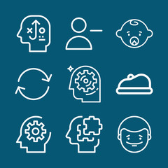 Set of 9 head outline icons
