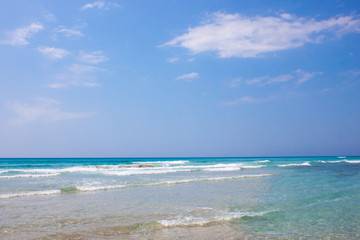 The sea horizon of the azure sea in sunny day in Italy