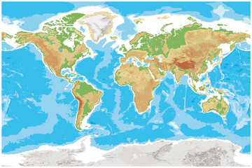 Physical map of Earth detailed topographic world