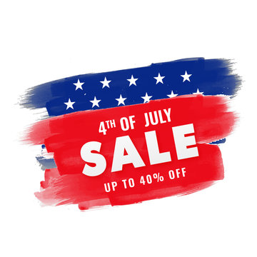 4th of July, sale banner design with upto 40% off offer.