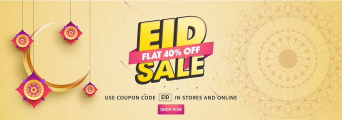 Eid sale, web header or banner design with crescent moon, and flat 40% discount offers on beige background.