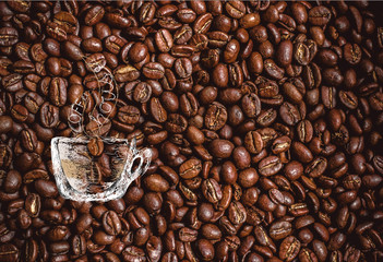 Hand-drawn Cup of Coffee on Coffee Beans Background with Place for Text. Designed as Background for Vouchers, Menu, Cards etc.