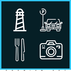 Set of 4 holidays outline icons