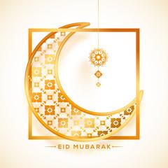 Golden crescent moon in a square frame. Eid Mubarak celebration concept.