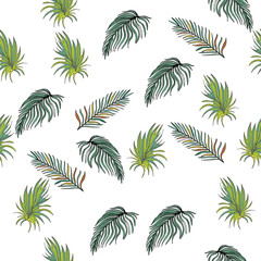 Hand Drawn Seamless Background With Palm  Leaves And Tropical Flowers. Jungle Pattern  For Textile Or Book Covers, Manufacturing, Wallpapers, Print, Gift Wrap And Scrapbooking.
