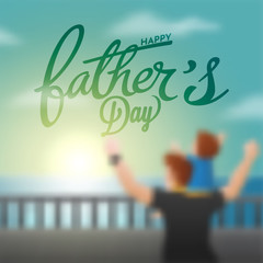Happy Father's Day celebration concept with father and son duo enjoying in evening, defocused concept.