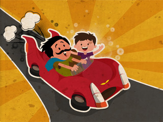 Happy Father's Day celebration concept with Father and Son enjoying car drive on vintage rays background.