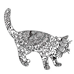 vector silhouette cat silhouette on white background