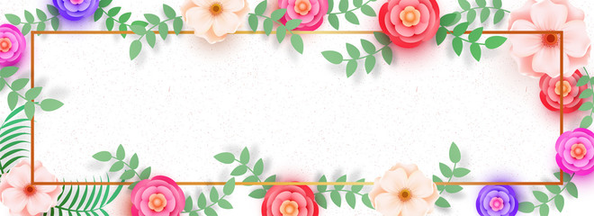 Website banner decorated with beautiful flowers on white background, space for your text.