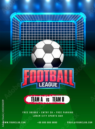 football league poster banner or flyer design with soccer ball and