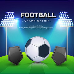 Soccer ball with blank shields, night football ground background.