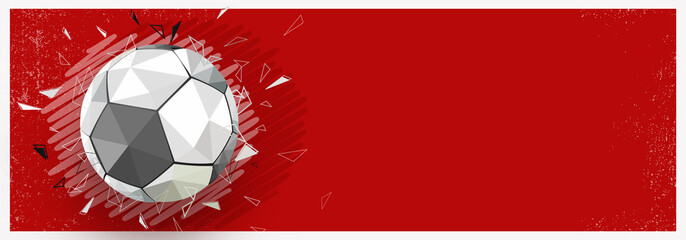Shiny football on red background, web banner design.