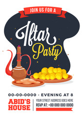 Iftar party invitation design with traditional jug, and sweets with details of event.