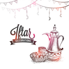 Iftar celebrations concept with traditional jug, dates and stylish text, pencil sketch design.