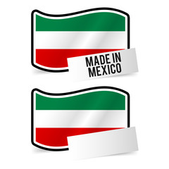 Made in Mexico Flag and white empty Paper. Esp10 Vector.