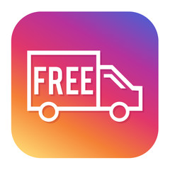 Free shipping icon with hipster button. Shipping button. Shopping symbol.