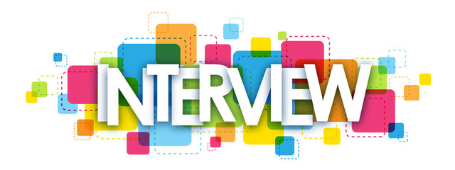 """INTERVIEW"" overlapping vector letters icon"