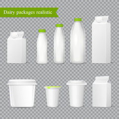 Realistic Dairy Packaging Transparent Set