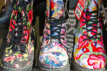 Floral boots on display at Camden market in London
