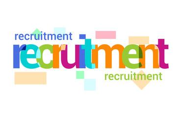 Recruitment Overlapping vector Letter Design