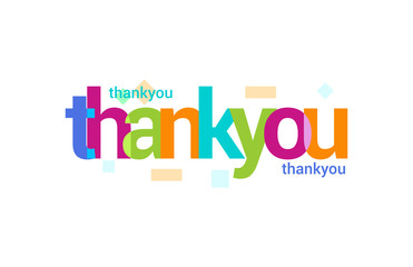 Thank You Overlapping vector Letter Design