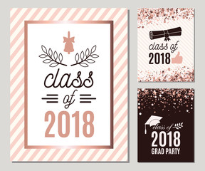 Graduate 2018 greeting cards set with rose gold confetti. Tree vector grad party invitations. Class of Grad posters. All isolated and layered