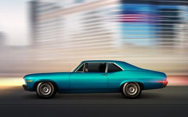 blue retro car moving at night