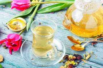 Wall Mural - Herbal tea and spring tulip