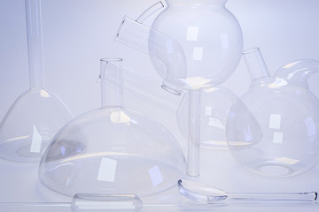 Laboratory medical glassware of chemistry experiments and research analysis