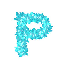 Alphabet Crystal diamond 3D virtual set letter P illustration Gemstone concept design blue color, isolated on white background, vector eps 10