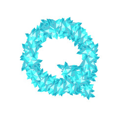 Alphabet Crystal diamond 3D virtual set letter Q illustration Gemstone concept design blue color, isolated on white background, vector eps 10