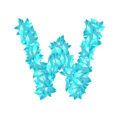 Alphabet Crystal diamond 3D virtual set letter W illustration Gemstone concept design blue color, isolated on white background, vector eps 10