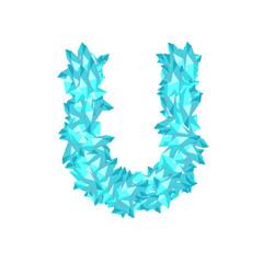 Alphabet Crystal diamond 3D virtual set letter U illustration Gemstone concept design blue color, isolated on white background, vector eps 10
