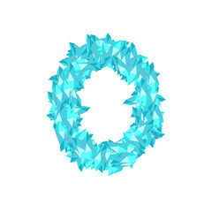 The letter number zero or 0, in the alphabet Crystal diamond 3D virtual set illustration Gemstone concept design blue color, isolated on white background, vector eps 10
