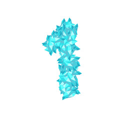 The letter number one or 1, in the alphabet Crystal diamond 3D virtual set illustration Gemstone concept design blue color, isolated on white background, vector eps 10