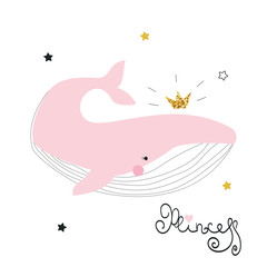 Sweet whale princess with crown and lettering. Fashion kids print. Vector hand drawn illustration.