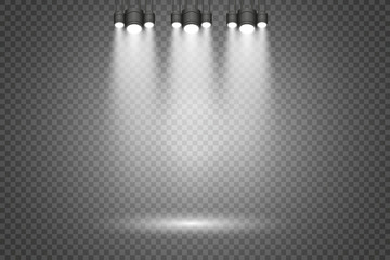 Wall Mural - Scene illumination, transparent effects on a plaid dark background. Bright lighting with spotlights.