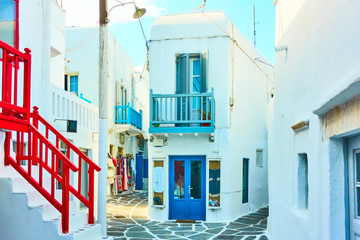 Snow white houses in Mykonos