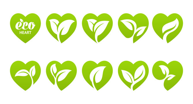 Icon set. Eco heart