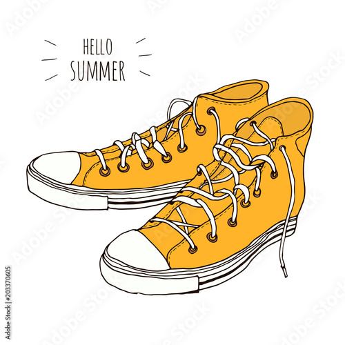 068b451af66fbd Yellow hand drawn vintage hipster sneakers isolated on white background.  Vector illustration