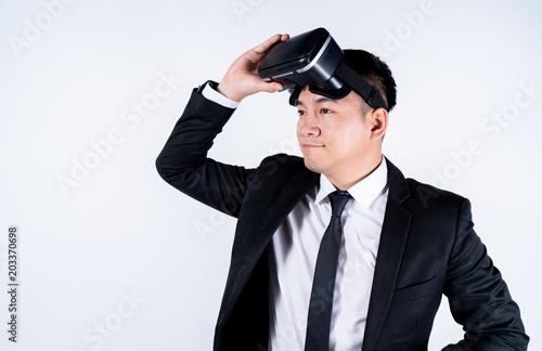 63f566c393e1 Goggles VR virtual reality glasses, business man in use digital  entertainment 3d, background is