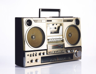 Stylish retro boombox on white