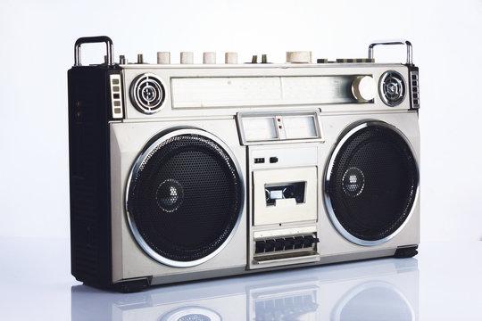 Stylish retro boombox on white