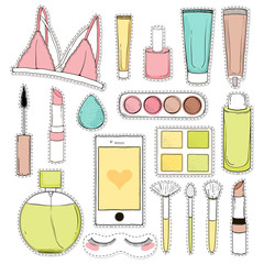 Cosmetics vector sticker fashion background with make up artist objects.