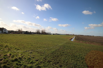 Wide angle view of polder Wilde Veenen at Donderdam between the villages of Moerkapelle and Waddinxveen in the Netherlands