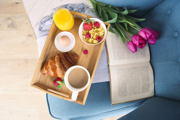 Healthy morning breakfast on tray top view