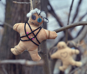 Voodoo doll with pins hanging on the tree. Mystic background with ritual esoteric objects, occult and halloween concept