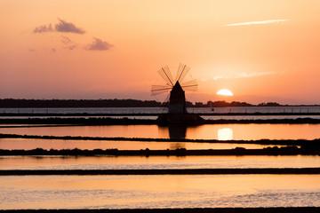 Windmill at sunset, Saline dello Stagnone, Marsala, province of Trapani, Sicily, Italy, Mediterranean, Europe