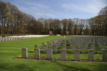 War cemetery in Oosterbeek for alied forces from World War of the battle of Arnhem.